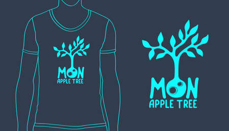 Design for t-shirt print with Moon Apple Tree logo. Vector illustration for eco label. Hand drawn logotype with inspiring lettering.
