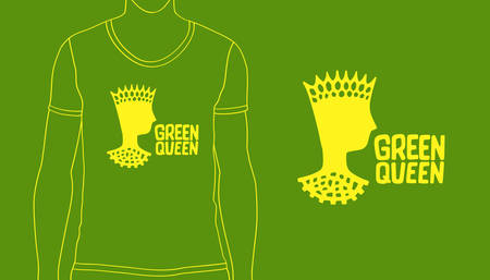 Hand drawn ink ecology design with hand lettering. Green Queen logo for eco label. Vector art illustration for print on t-shirt or cover notebook. Illustration