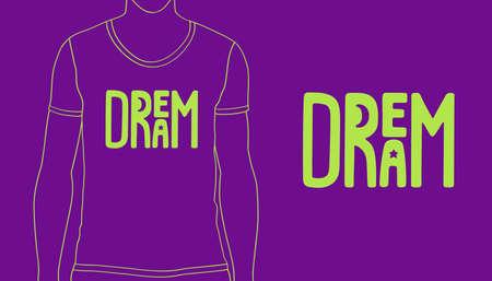 Handmade lettering logo - Dream. Vector illustration of printable concept for shirt, poster, cover book 矢量图像
