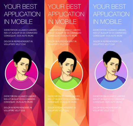 Vector concept for app template - mobile app, smartphone, social media, mobile phone. Banner or header of vector mobile tablet app. Ads banner presentation withwith face of woman. Cartoon character with mobile Illustration