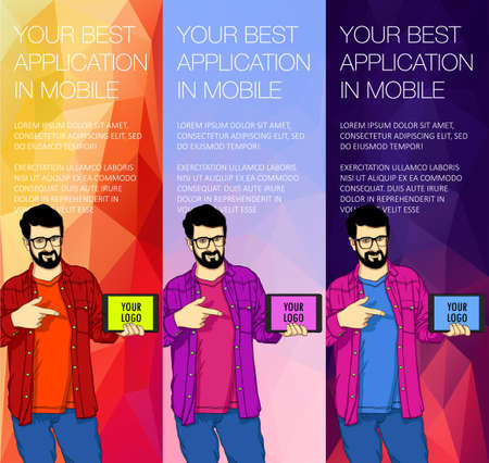 A set of banner templates with a guy holding a tablet. Colorful vector backgrounds for web banners