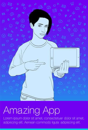 A young girl is showing a finger on the tablet PC screen. Vector template for web banner
