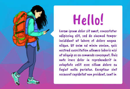 Girl with mobile phone and bubble speech. Vector illustration for banner, presentation