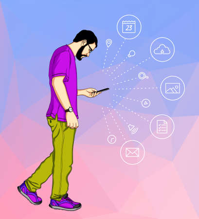 Casual cartoon man looking at his mobile phone and messaging on a background of geometric shapes. Illustration