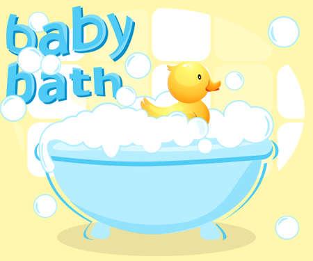 baby bath: Baby Bath Illustration
