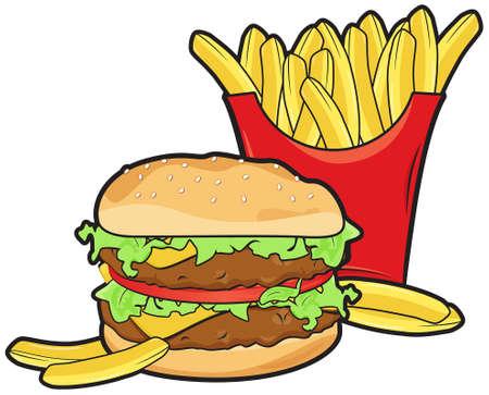 deli: Hamburger and French fries