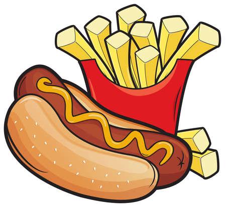 Hotdogs en frietjes