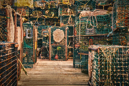 barnacles: lobster traps piled up on dock in Maine Stock Photo