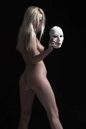 naked blond with mask photo