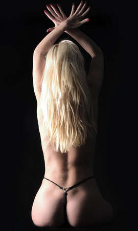 blond back with red nails