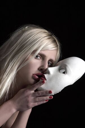 kissing the mask photo