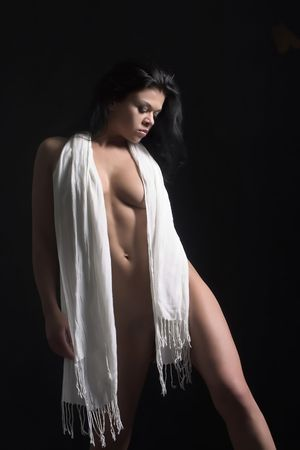 naked female: A naked female with a white scraf around her neck Stock Photo