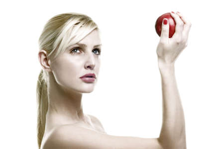 apple on the hand of blond Stock Photo - 392476