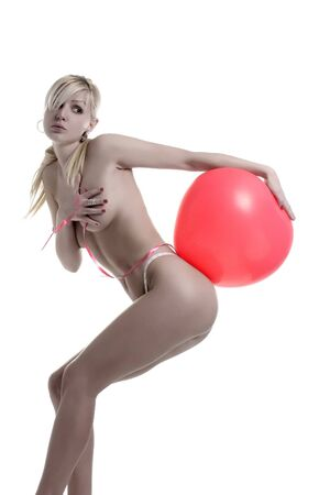 blond with balloon on the assn