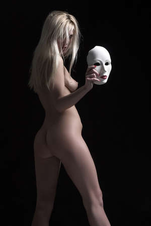 naked blond with mask
