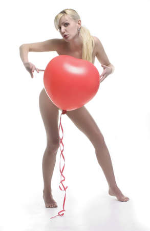 blond with red heart balloon Stock Photo - 393663
