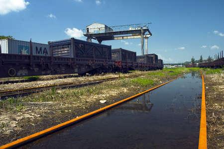 girder: blank railway and crane girder with blue sky