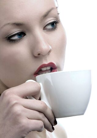 beauty lady is drinking coffe  Stock Photo