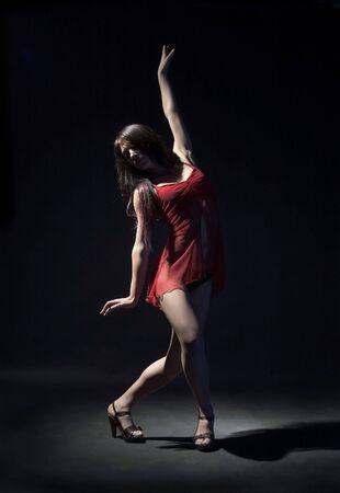 female dancer in red dress