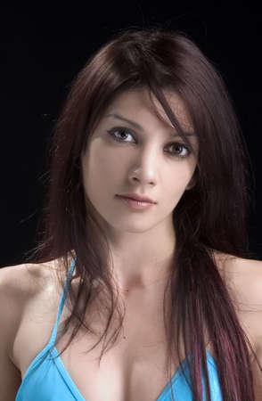 portrait of beauty woman on black background