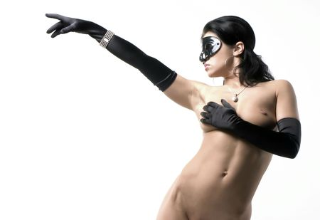 beauty woman body with black gloves and mask