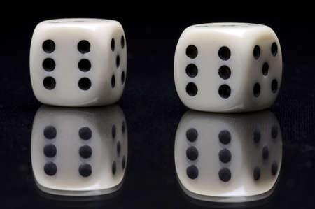 ivory: ivory gamble cubes on glass