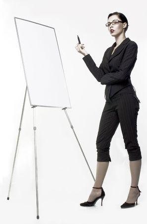 businesswoman writes on blank board photo