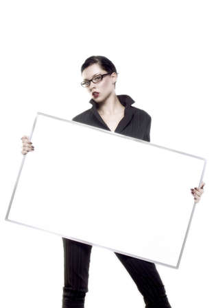 businesswoman is holding blank board Stock Photo