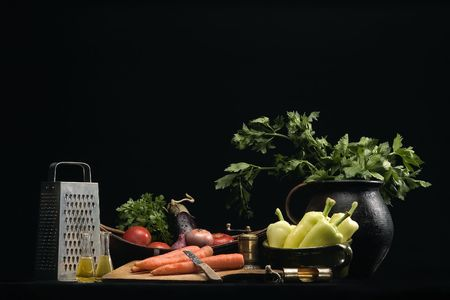 still life of vegetables with flavoring photo