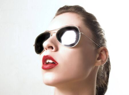 sensual portrait of female with sunglass Stock Photo