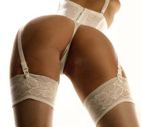 back of blond in lingerie