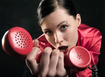 lady in red is calling you Stock Photo - 859015