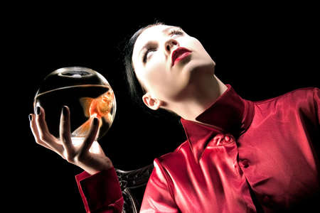 girl with gold fish Stock Photo - 1141392