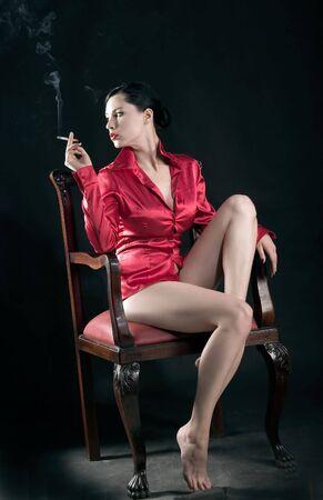 girl is smoking