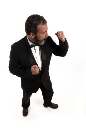profile of angry gentleman who is standing in the gard  Stock Photo