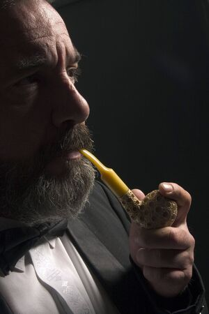 servile: thoughtful gentleman is smoking pipe