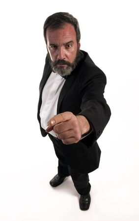 figure of angry gentleman who is standing with finger Stock Photo