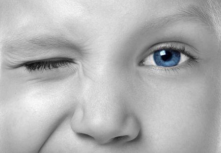 smiling blue eyes are talking something