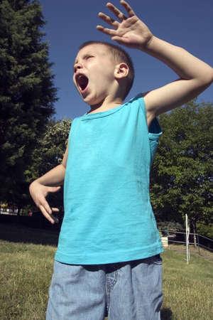 Little boy yelling Stock Photo