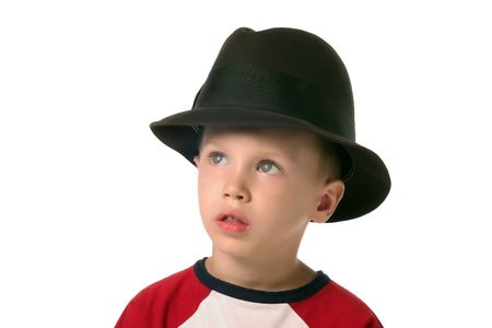 Little boy with hat, looking away photo