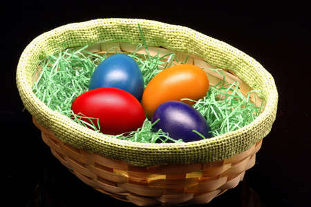 the Easter eggs are standing in basket Stock Photo - 2643358