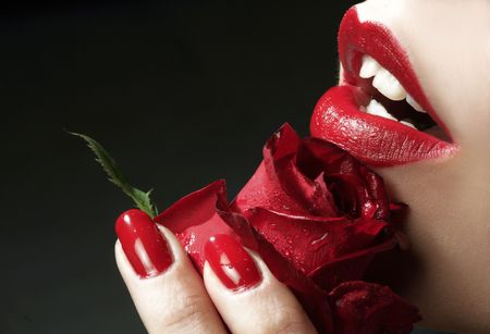 red lips and red rose
