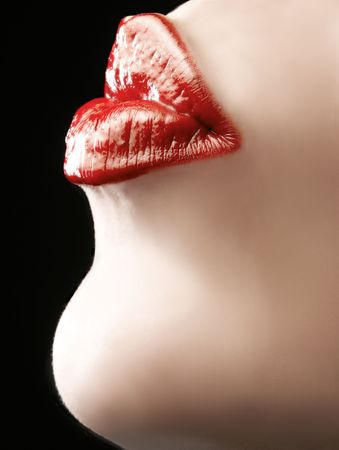kissing lips: red soft female lips in kissing pose Stock Photo