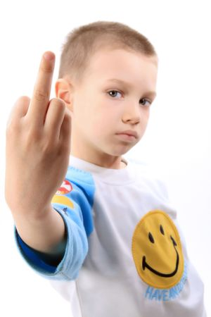 bad attitude: a boy is showing a middle finger