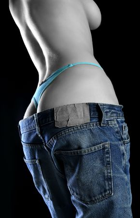 an attractive women with blue panties undressed