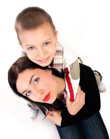 amazing stunning: two happy portraits of blond boy and lady Stock Photo
