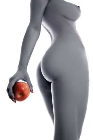 a female body with red apple in hand