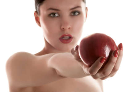 a female with red apple in hand