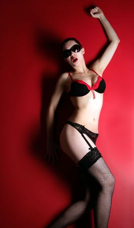sexual attractive lady on the red background