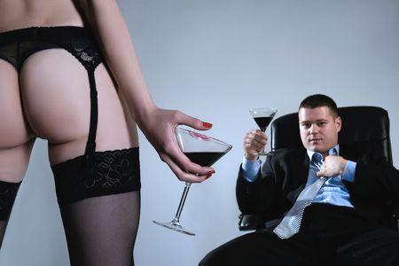 a stripped young business lady with her boss Stock Photo - 3055624